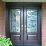 Beautiful fiberglass wood finish entry double doors