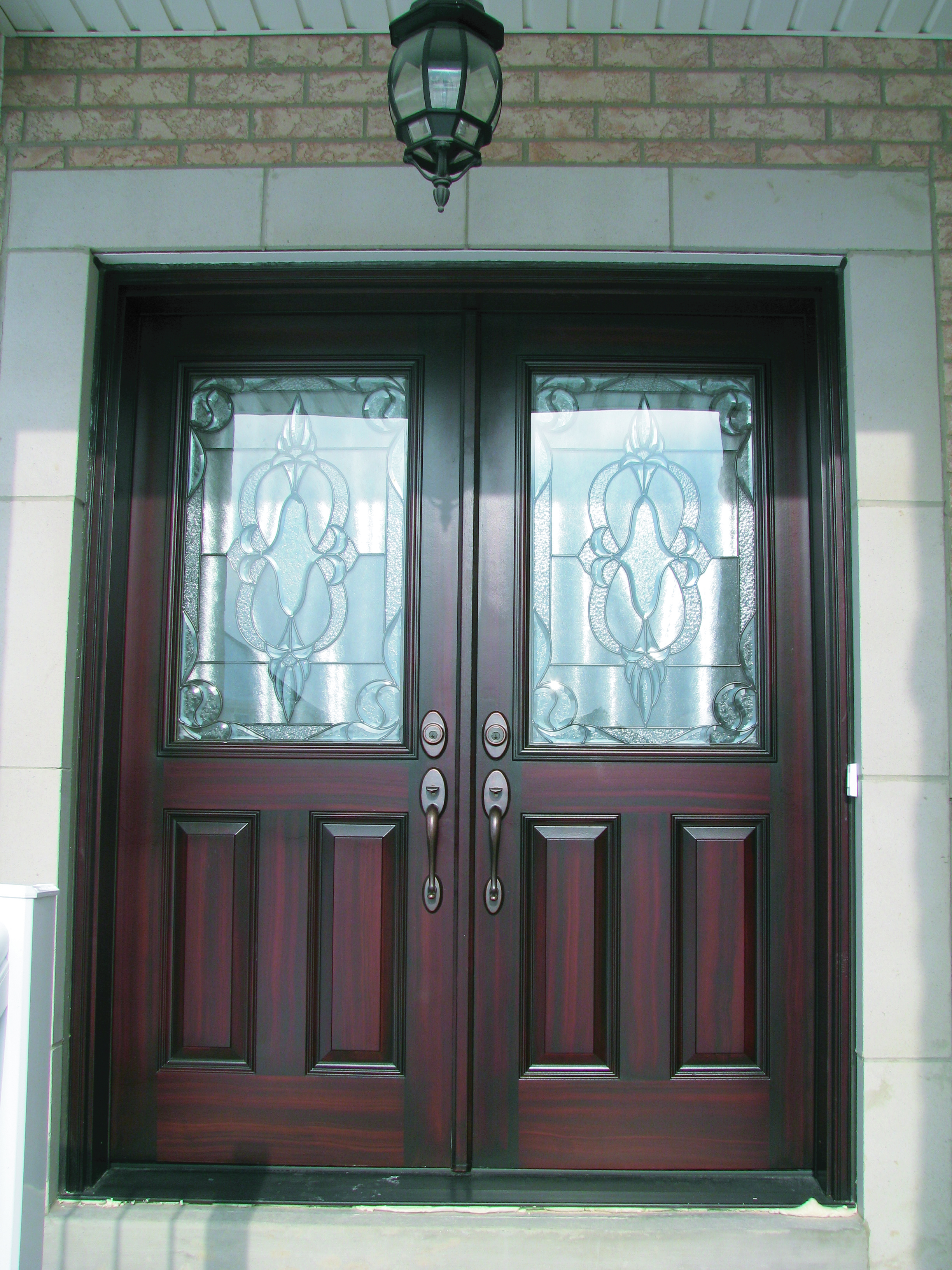 Double front door glass for Entrance door with window