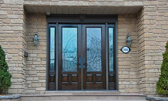 Fiberglass Entrance Door with Decorative Glass Inserts